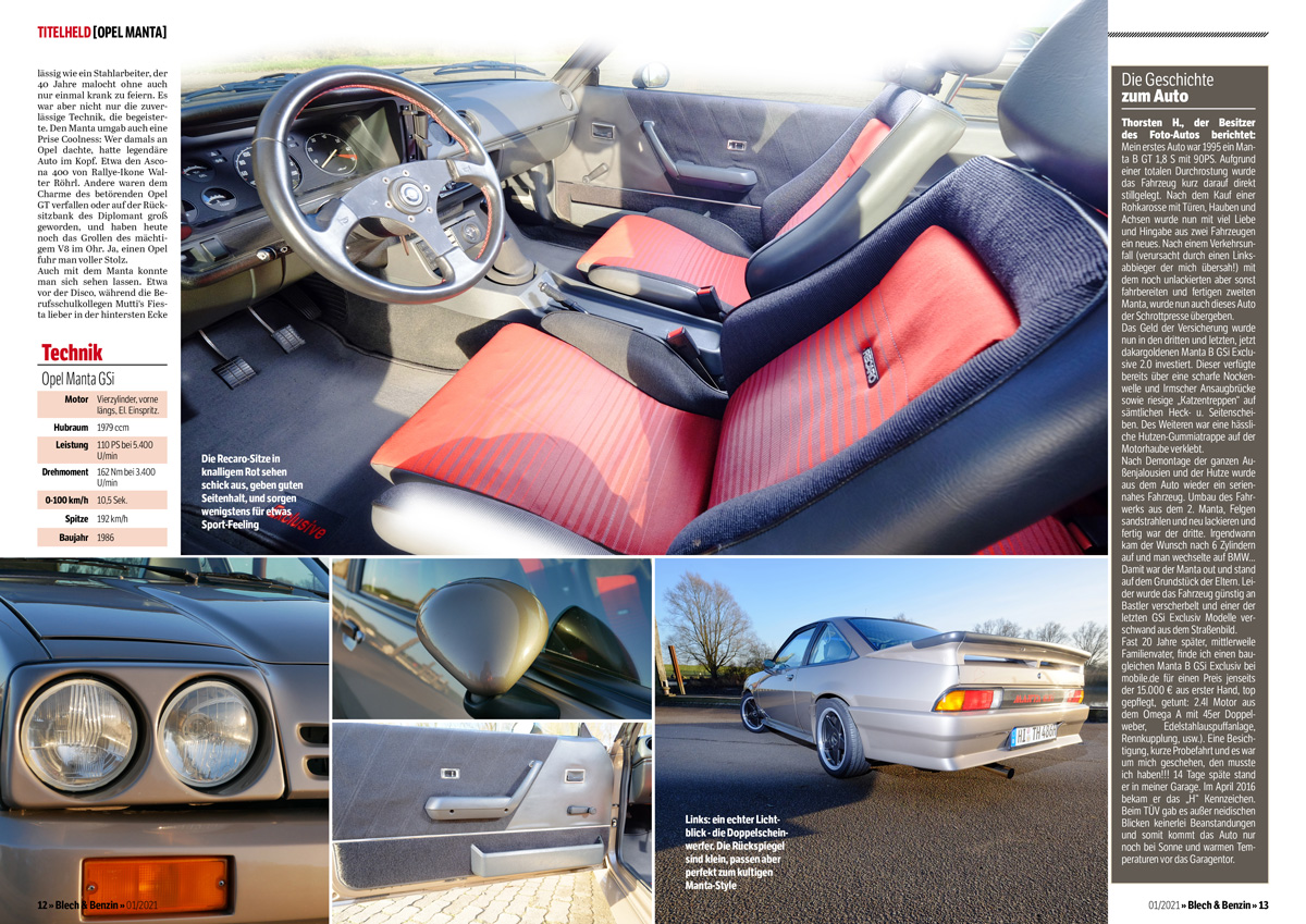 Opel Manta B GSi, Recaro-Sitze, Sportlenkrad